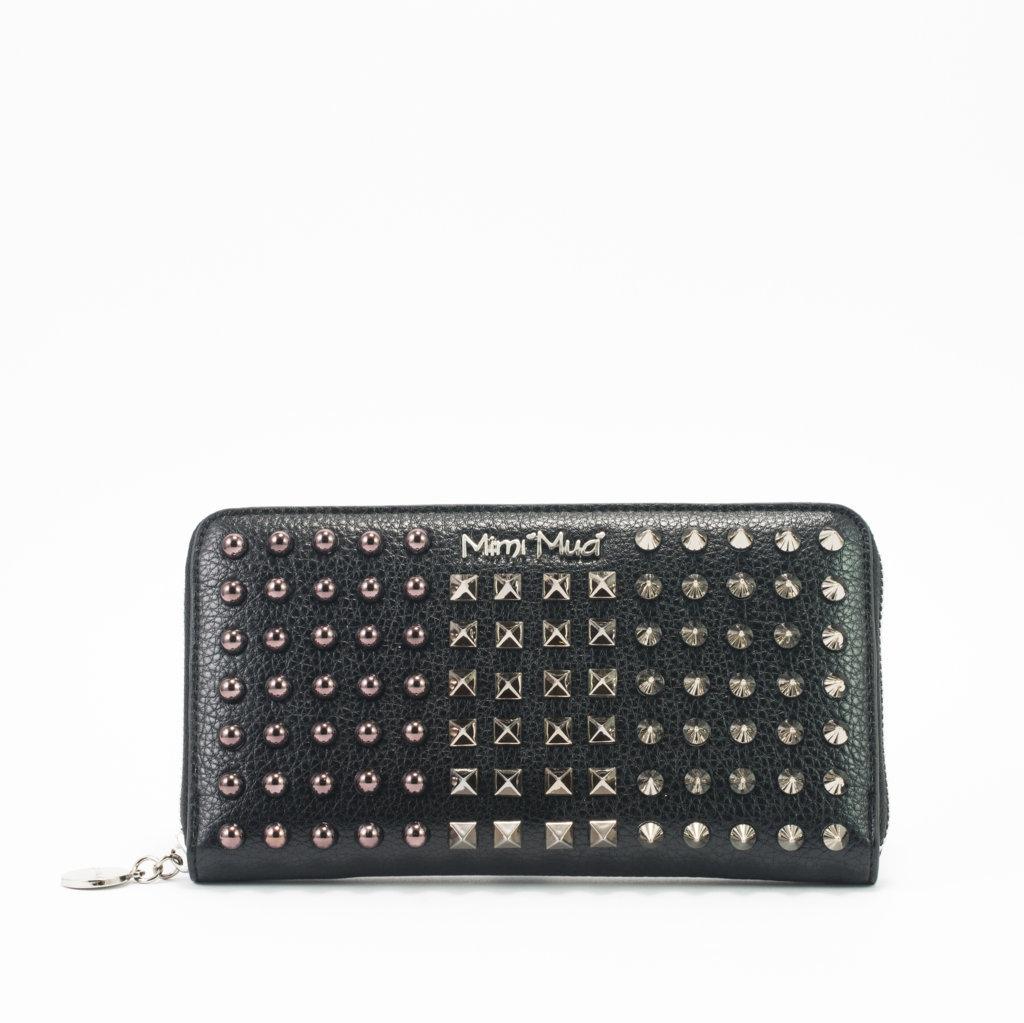 Raccogliere 509f7 14dfa Mimi-Muà portafoglio nero borchie